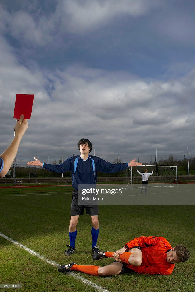 player being shown the red card : Stock Photo