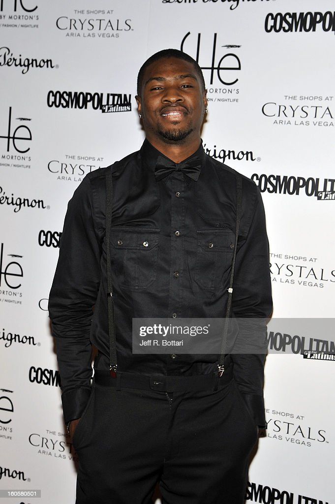 NFL player Bernard Berrian of the Minnesota Vikings arrives at the grand opening of SHe by Morton's at Crystals at CityCenter on February 2, 2013 in Las Vegas, Nevada.