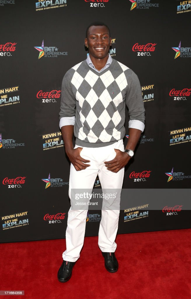 NBA player Bismack Biyombo attends Movie Premiere 'Let Me Explain' with Kevin Hart during the 2013 BET Experience at Regal Cinemas L.A. Live on June 27, 2013 in Los Angeles, California.