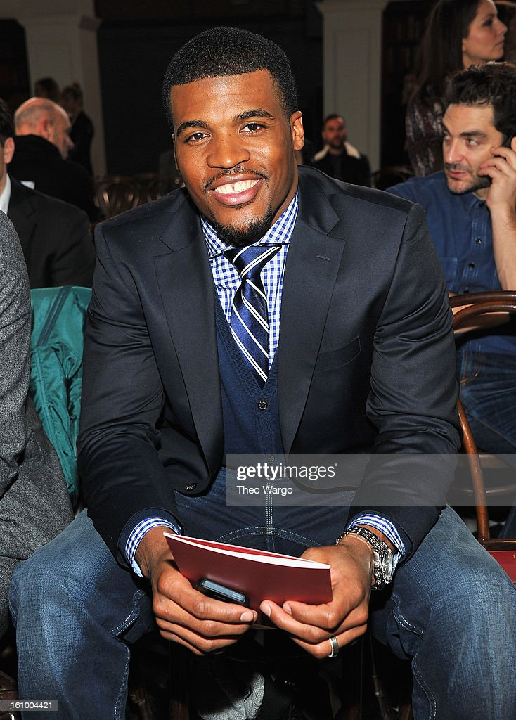 NFL player Brad Smith attends the Tommy Hilfiger Fall 2013 Men's Collection fashion show during Mercedes-Benz Fashion Week at Park Avenue Armory on February 8, 2013 in New York City.