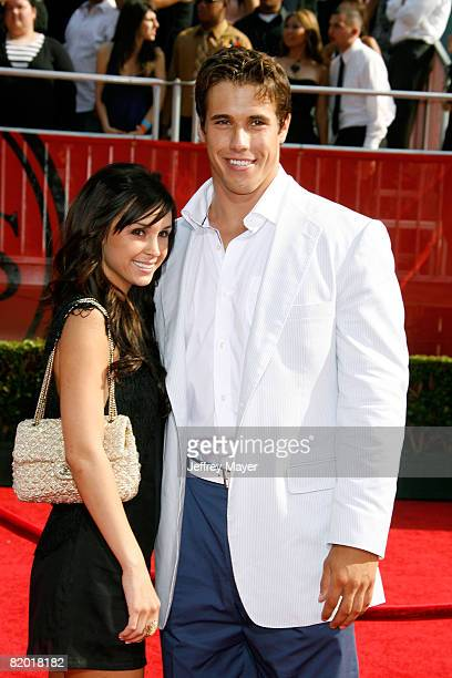 NFL player Brady Quinn and guest arrive at the 2008 ESPY Awards held at NOKIA Theatre LA LIVE on July 16 2008 in Los Angeles California The 2008...
