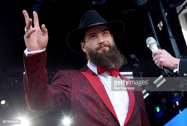 NHL player Brent Burns attends the 2016 NHL AllStar Red Carpet at Bridgestone Arena on January 30 2016 in Nashville Tennessee