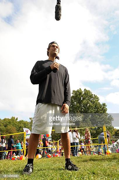 NBA player Brook Lopez joins kids and families as they enjoy the activities at Nickelodeon's 10th Annual Worldwide Day of Play in Brooklyn's Prospect...
