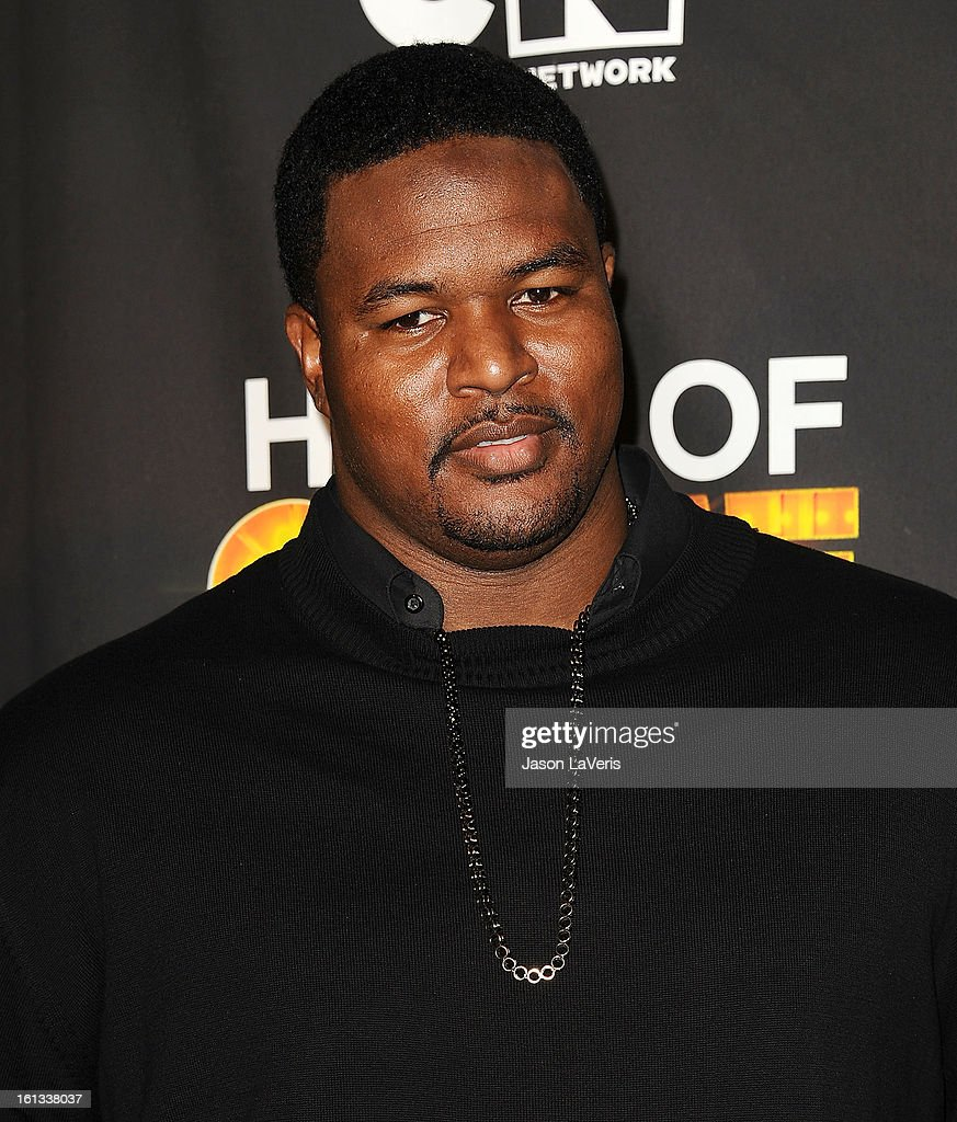 NFL player Bryant Mckinnie poses in the press room at Cartoon Network's 3rd annual Hall Of Game Awards at Barker Hangar on February 9, 2013 in Santa Monica, California.