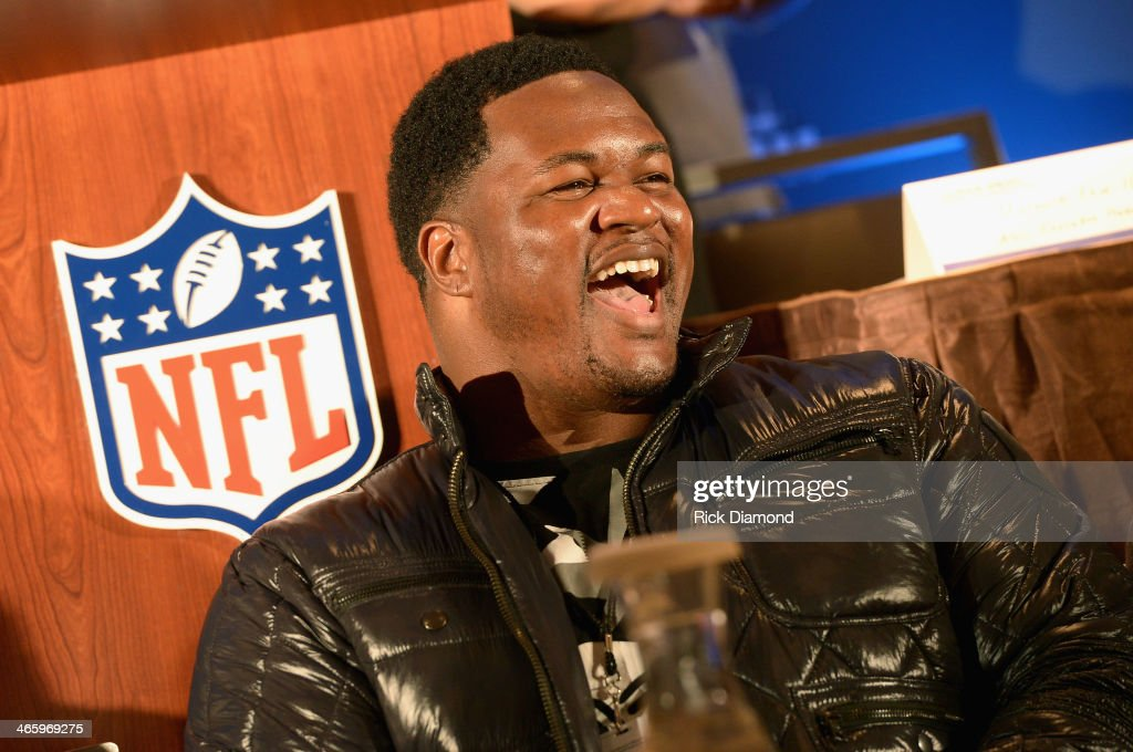 NFL player <a gi-track='captionPersonalityLinkClicked' href=/galleries/search?phrase=Bryant+McKinnie&family=editorial&specificpeople=2648683 ng-click='$event.stopPropagation()'>Bryant McKinnie</a> speaks at the Super Bowl Gospel Celebration press conference at Super Bowl XLVIII Media Center, Sheraton Times Square on January 30, 2014 in New York City.