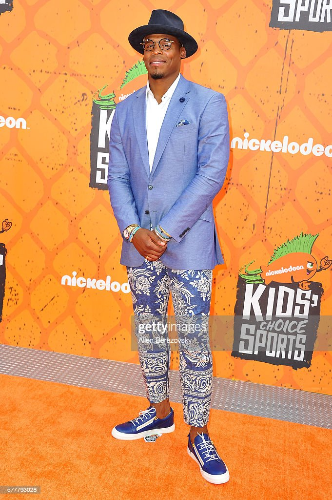 NFL player Cam Newton arrives at the Nickelodeon Kids' Choice Sports Awards 2016 at UCLA's Pauley Pavilion on July 14, 2016 in Westwood, California.