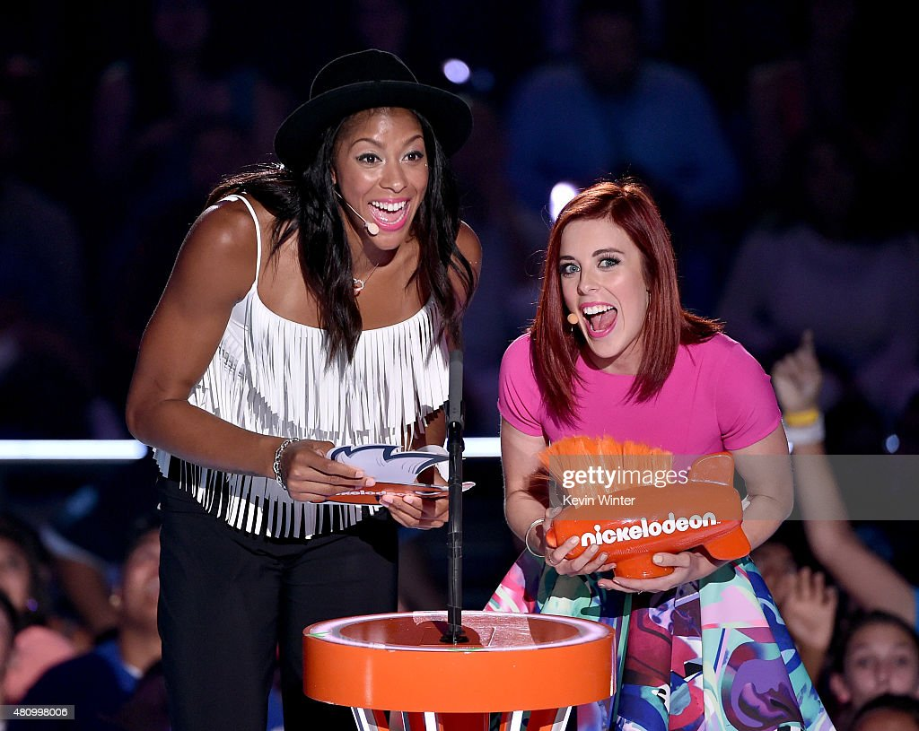 WNBA player <a gi-track='captionPersonalityLinkClicked' href=/galleries/search?phrase=Candace+Parker&family=editorial&specificpeople=752955 ng-click='$event.stopPropagation()'>Candace Parker</a> (L) and figure skater <a gi-track='captionPersonalityLinkClicked' href=/galleries/search?phrase=Ashley+Wagner&family=editorial&specificpeople=2564533 ng-click='$event.stopPropagation()'>Ashley Wagner</a> speak onstage at the Nickelodeon Kids' Choice Sports Awards 2015 at UCLA's Pauley Pavilion on July 16, 2015 in Westwood, California.