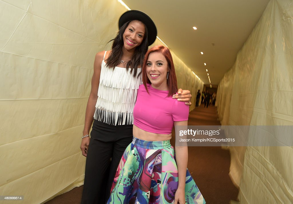 WNBA player <a gi-track='captionPersonalityLinkClicked' href=/galleries/search?phrase=Candace+Parker&family=editorial&specificpeople=752955 ng-click='$event.stopPropagation()'>Candace Parker</a> (L) and Olympic figure skater <a gi-track='captionPersonalityLinkClicked' href=/galleries/search?phrase=Ashley+Wagner&family=editorial&specificpeople=2564533 ng-click='$event.stopPropagation()'>Ashley Wagner</a> pose backstage during the Nickelodeon Kids' Choice Sports Awards 2015 at UCLA's Pauley Pavilion on July 16, 2015 in Westwood, California.