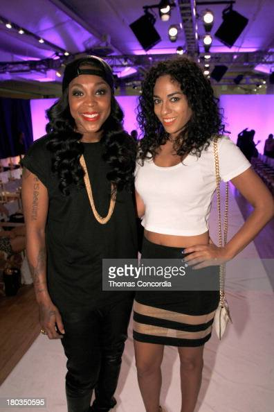 WNBA player Cappie Pondexter and journalist Sharon Carpenter attend the FrontRow by Shateria MoragneEl at the STYLE360 Fashion Pavilion in Chelsea on...