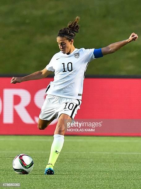 US player Carli Lloyd kicks the ball during their 2015 FIFA Women's World Cup quarterfinal match against China at Lansdowne Stadium in Ottawa Ontario...