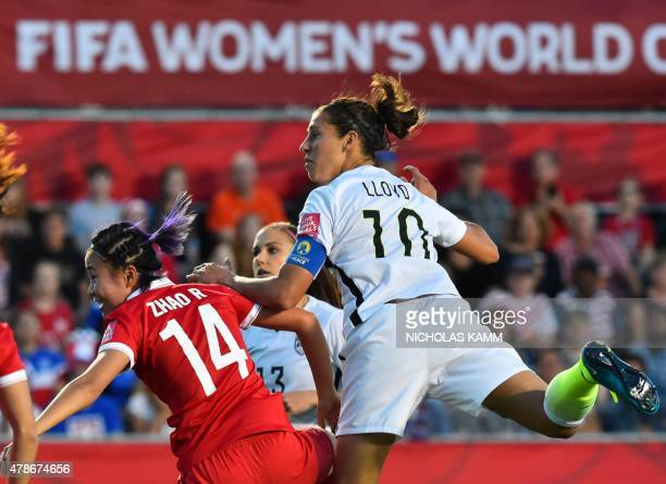 US player Carli Lloyd looks on as she scores a goal during a 2015 FIFA Women's World Cup quarterfinal match between the US and China at Lansdowne...