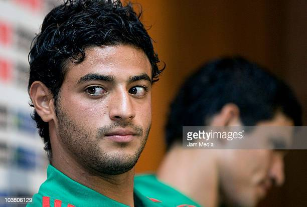 Player Carlos Vela during a press conference of the Mexico National Team prior to their match against Ecuador at camino Real Hotel on September 2...