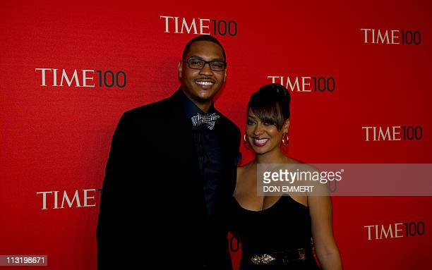 NBA player Carmelo Anthony and tv personalty Lala Vazquez arrive at the Time Magazine 'World's 100 Most Influential People' gala April 26 2011 in New...