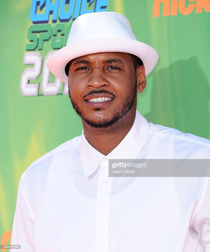 NBA player <a gi-track='captionPersonalityLinkClicked' href=/galleries/search?phrase=Carmelo+Anthony&family=editorial&specificpeople=201494 ng-click='$event.stopPropagation()'>Carmelo Anthony</a> attends the 2014 Nickelodeon Kids' Choice Sports Awards at Pauley Pavilion on July 17, 2014 in Los Angeles, California.