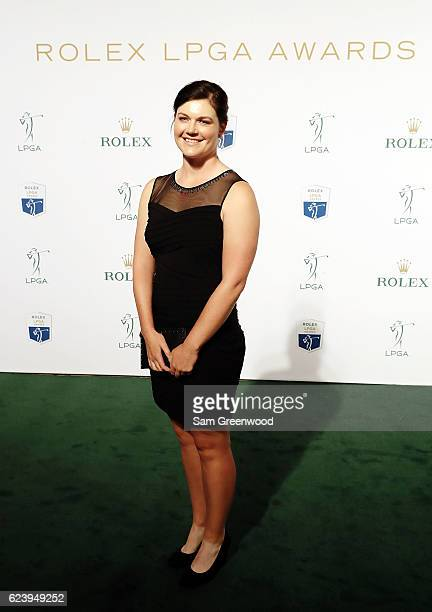 LPGA player Caroline Masson of Germany poses on the red carpet as she arrives to the LPGA Rolex Players Awards at the RitzCarlton Naples on November...