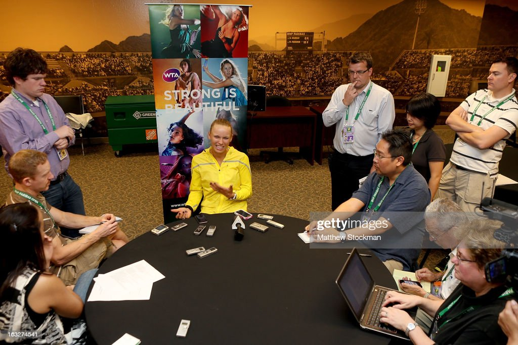 WTA player Caroline Wozniacki of Denmark fields questions from the media during the WTA All Access Hour at the BNP Paribas Open at the Indian Wells Tennis Garden on March 6, 2013 in Indian Wells, California.