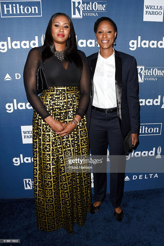 WNBA player Chamique Holdsclaw and guest attend the 27th Annual GLAAD Media Awards at the Beverly Hilton Hotel on April 2 2016 in Beverly Hills...