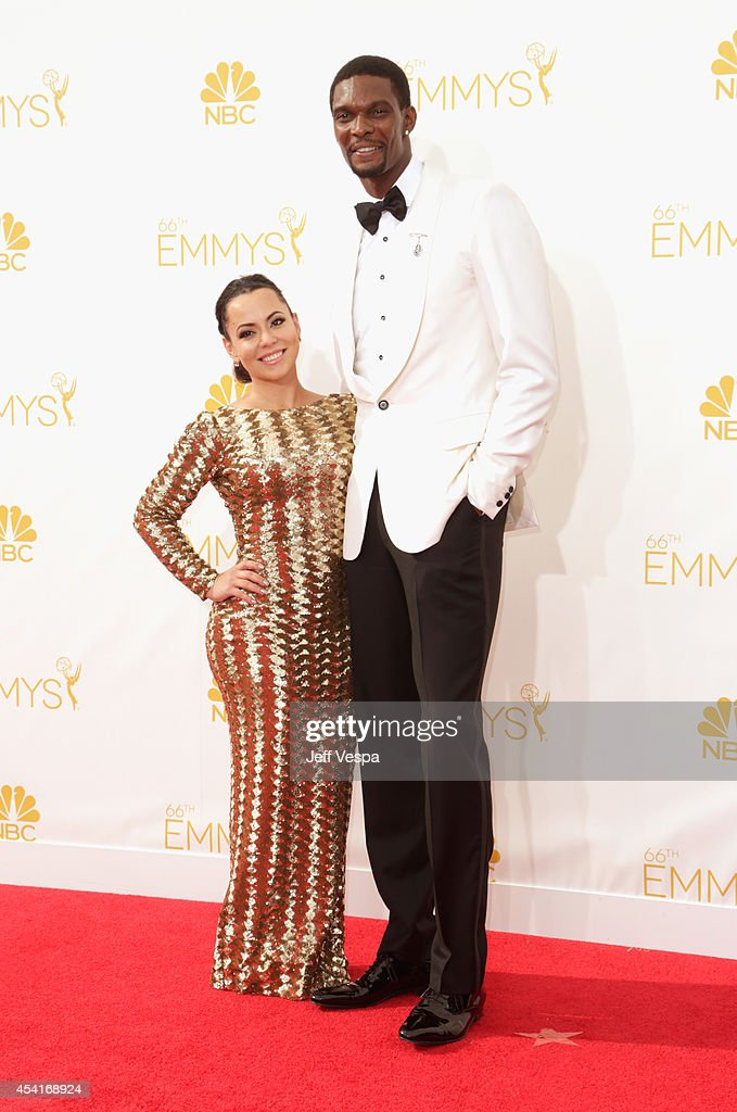 NBA player Chris Bosh and Adrienne Williams Bosh attend the 66th Annual Primetime Emmy Awards held at Nokia Theatre LA Live on August 25 2014 in Los...