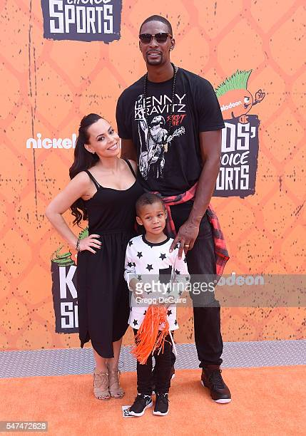 NBA player Chris Bosh wife Adrienne Bosh and son arrive at Nickelodeon Kids' Choice Sports Awards 2016 at UCLA's Pauley Pavilion on July 14 2016 in...