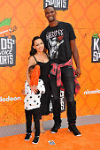NBA player Chris Bosh wife Adrienne Bosh and son arrive at the Nickelodeon Kids' Choice Sports Awards 2016 at UCLA's Pauley Pavilion on July 14 2016...