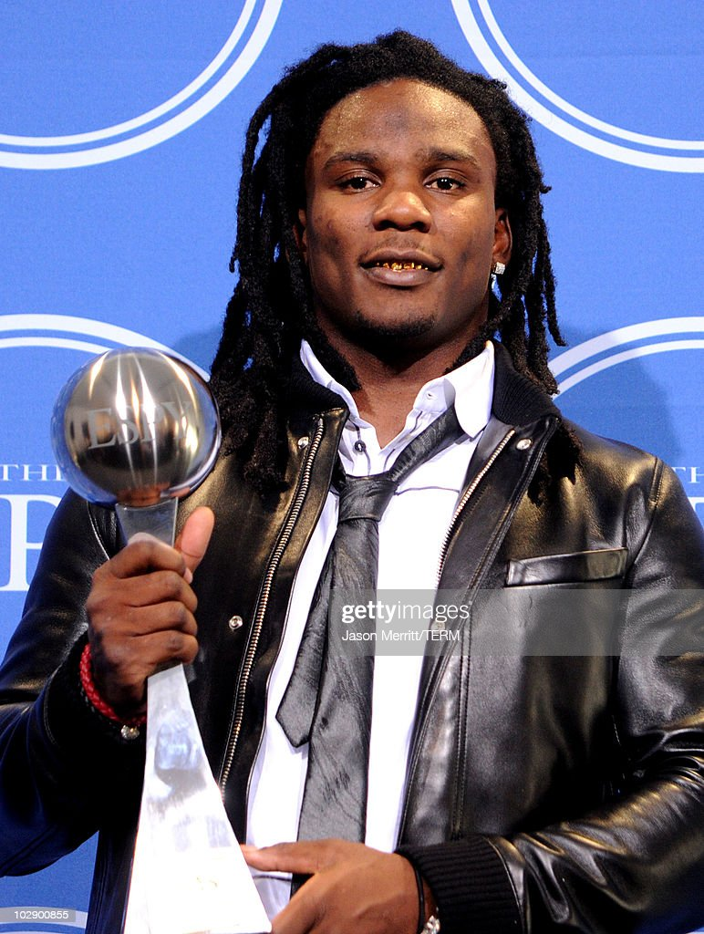 NFL player Chris Johnson of the Tennessee Titans winner of the Best Breakthrough Athlete Award poses in press room during the 2010 ESPY Awards at...