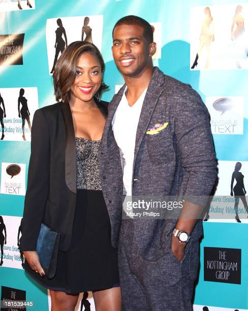 NBA player Chris Paul and his wife Jada Paul arrive at Laura Govan's Birthday Party by NBA Star Gilbert Arenas on September 21 2013 in Beverly Hills...