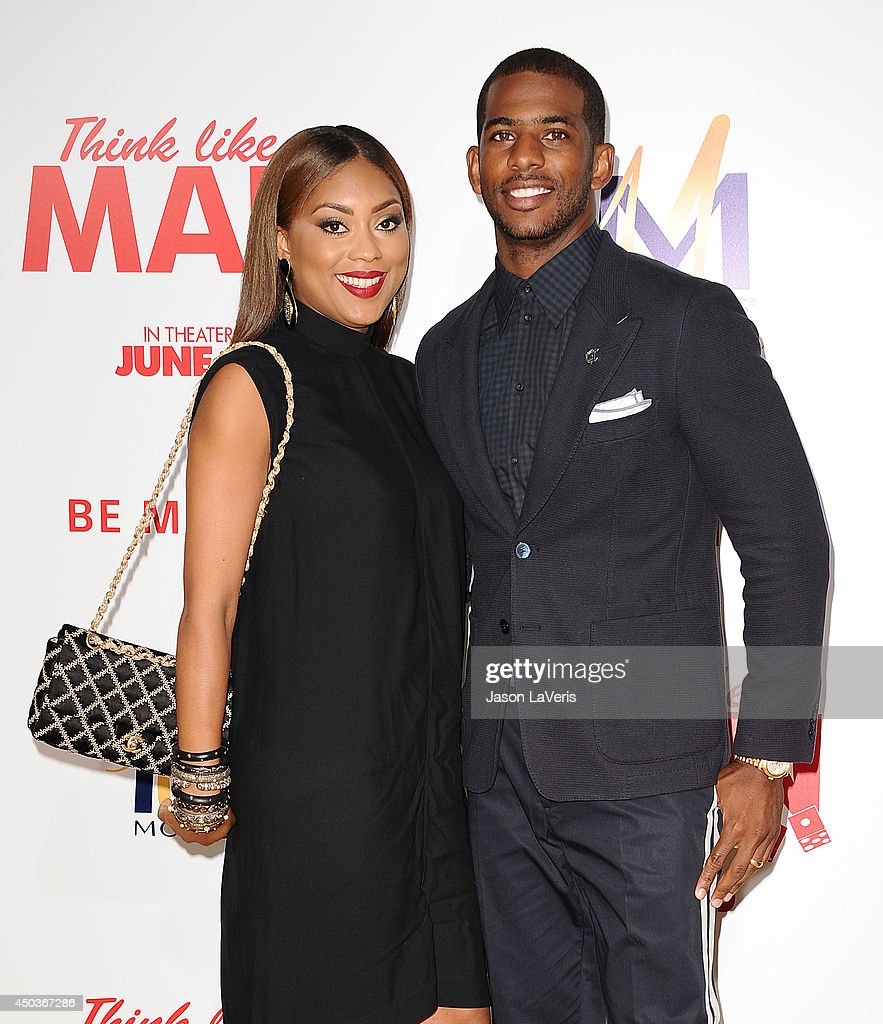 NBA player <a gi-track='captionPersonalityLinkClicked' href=/galleries/search?phrase=Chris+Paul&family=editorial&specificpeople=212762 ng-click='$event.stopPropagation()'>Chris Paul</a> (R) and wife Jada Crawley attend the premiere of 'Think Like A Man Too' at TCL Chinese Theatre on June 9, 2014 in Hollywood, California.
