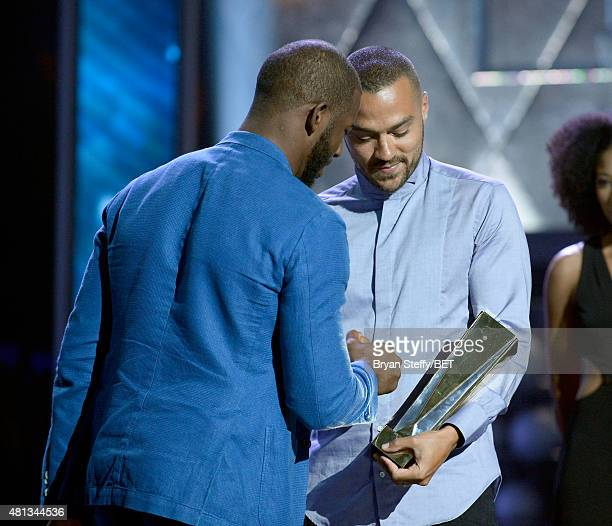 NBA player Chris Paul of the Los Angeles Clippers and actor Jesse Williams speak onstage at The Players' Awards presented by BET at the Rio Hotel...