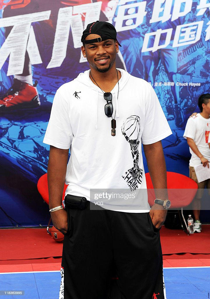 NBA player <a gi-track='captionPersonalityLinkClicked' href=/galleries/search?phrase=Chuck+Hayes&family=editorial&specificpeople=206129 ng-click='$event.stopPropagation()'>Chuck Hayes</a> of Houston Rockets attends a promotional event of Qiaodan Sports Co Ltd on July 6, 2011 in Xiamen, Fujian Province of China.