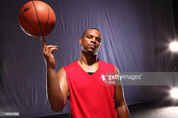 NBA player Chuck Hayes of Houston Rockets takes part in the filming of a commercial for Qiaodan Sports Co Ltd on June 3 2011 in Beijng China