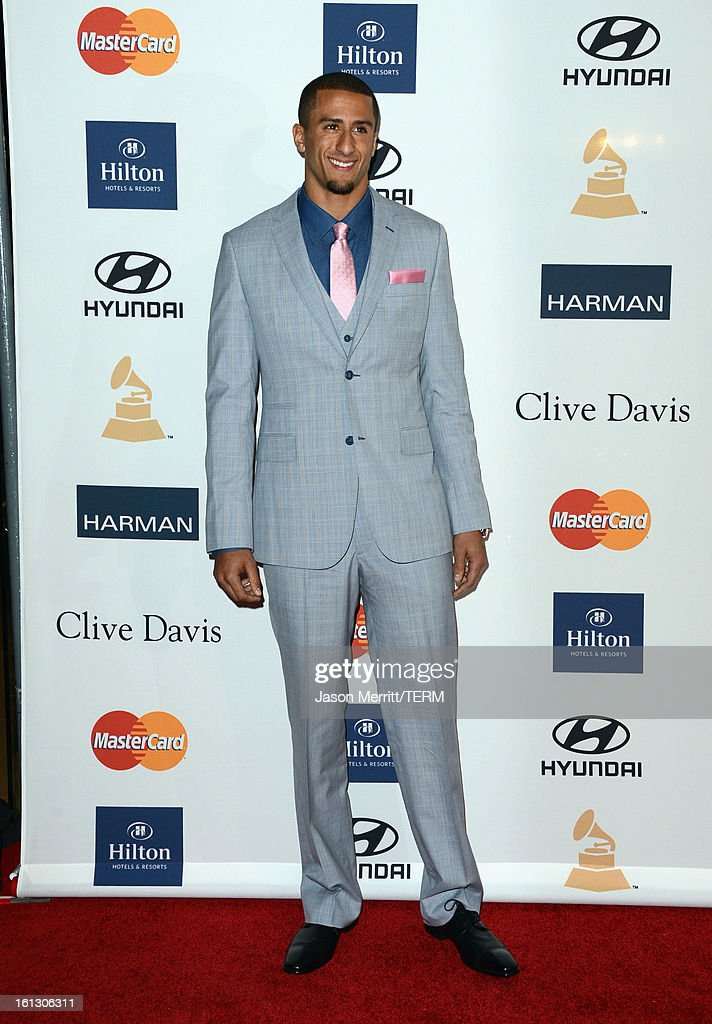 NFL player Colin Kaepernick arrives at Clive Davis & The Recording Academy's 2013 Pre-GRAMMY Gala and Salute to Industry Icons honoring Antonio 'L.A.' Reid at The Beverly Hilton Hotel on February 9, 2013 in Beverly Hills, California.