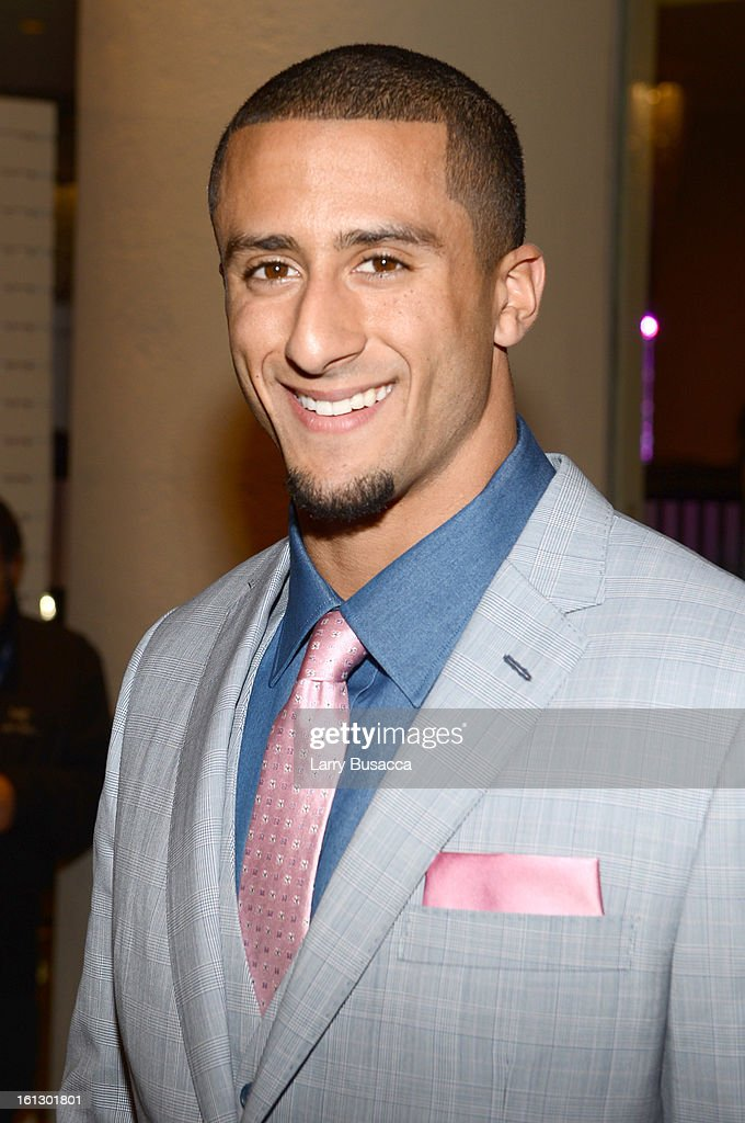 Player Colin Kaepernick arrives at the 55th Annual GRAMMY Awards Pre-GRAMMY Gala and Salute to Industry Icons honoring L.A. Reid held at The Beverly Hilton on February 9, 2013 in Los Angeles, California.