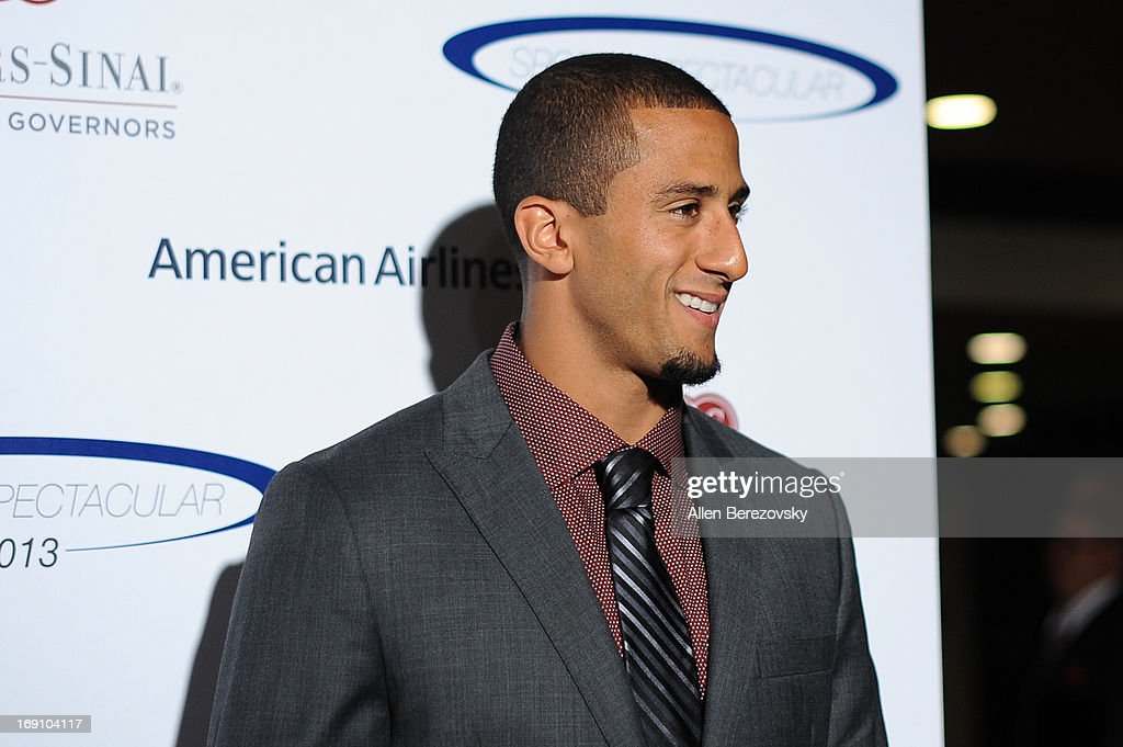 NFL player <a gi-track='captionPersonalityLinkClicked' href=/galleries/search?phrase=Colin+Kaepernick&family=editorial&specificpeople=5525694 ng-click='$event.stopPropagation()'>Colin Kaepernick</a> arrives at the Sports Spectacular 28th Anniversary Gala at the Hyatt Regency Century Plaza on May 19, 2013 in Century City, California.