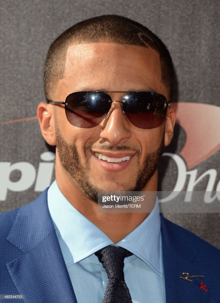 NFL player <a gi-track='captionPersonalityLinkClicked' href=/galleries/search?phrase=Colin+Kaepernick&family=editorial&specificpeople=5525694 ng-click='$event.stopPropagation()'>Colin Kaepernick</a> attends The 2014 ESPYS at Nokia Theatre L.A. Live on July 16, 2014 in Los Angeles, California.