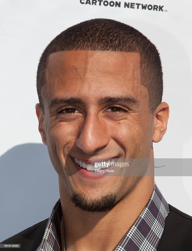 NFL player Colin Kaepernick attends the GBK & Cartoon Network's Official Backstage Thank You Lounge at Barker Hangar on February 9, 2013 in Santa Monica, California.