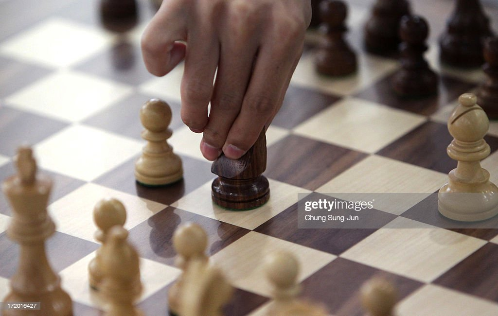 A player competes in the Chess Men's Classical round 2 during day three of the 4th Asian Indoor Martial Arts Games at Yonsei International Campus on...