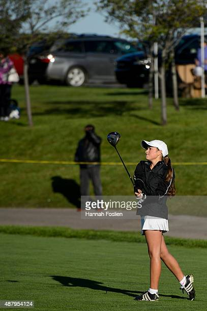 A player competes in the drive at a Regional Finals for 1415 year old girls at the Drive Chip and Putt competition on September 12 2015 at Hazeltine...
