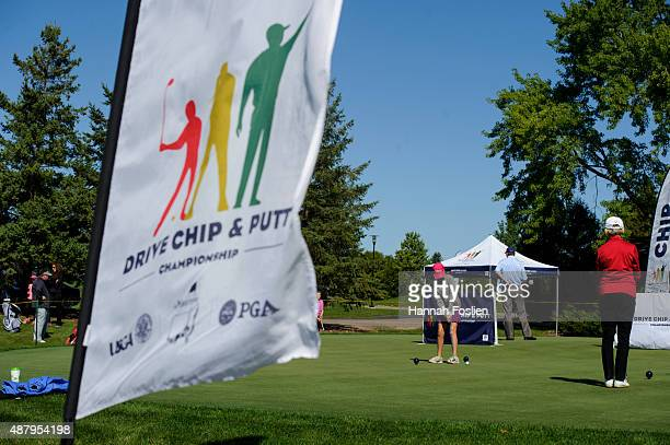 A player competes in the putt at a Regional Finals for 1011 year old girls at the Drive Chip and Putt competition on September 12 2015 at Hazeltine...