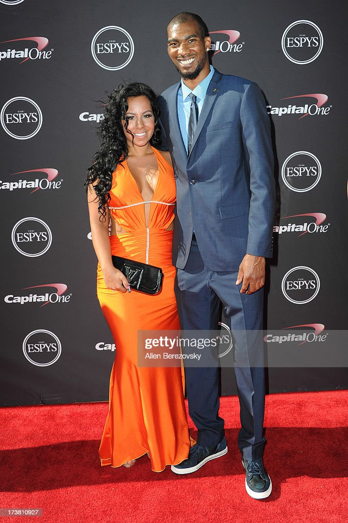NBA player Corey Brewer and a guest arrive at the 2013 ESPY Awards at Nokia Theatre L.A. Live on July 17, 2013 in Los Angeles, California.
