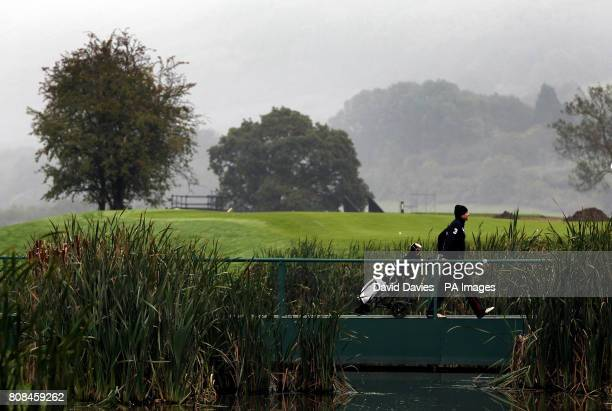 A player crosses the bridge onto the 5th green of the Twenty Ten Course at Celtic Manor used for the 2010 Ryder Cup at Celtic Manor Golf Course...