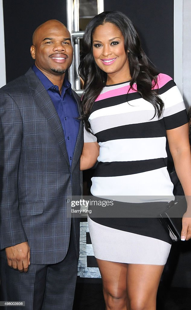 Player Curtis Conway and wife Professional Boxer Laila Ali attend the Premiere Of Warner Bros Pictures' 'Creed' at the Regency Village Theatre on...