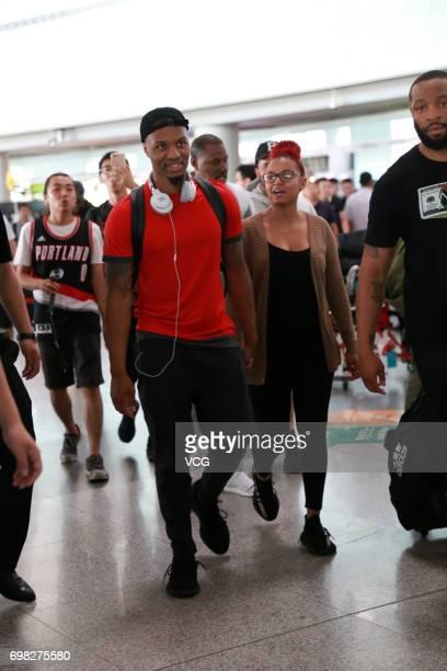 NBA player Damian Lillard of the Portland Trail Blazers arrives at Beijing Capital International Airport on June 20 2017 in Beijing China
