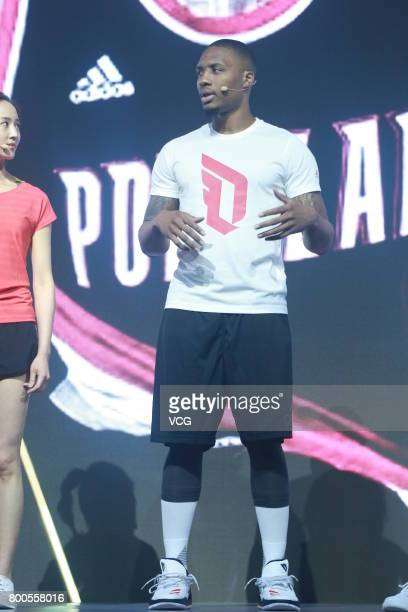 NBA player Damian Lillard of the Portland Trail Blazers attends adidas 'Republic of Sports' event at Taipingqiao Park on June 23 2017 in Shanghai...