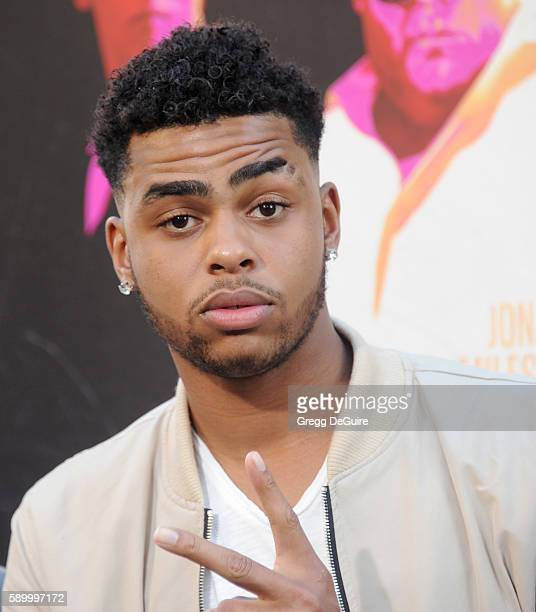 NBA player D'Angelo Russell arrives at the premiere of Warner Bros Pictures' 'War Dogs' at TCL Chinese Theatre on August 15 2016 in Hollywood...