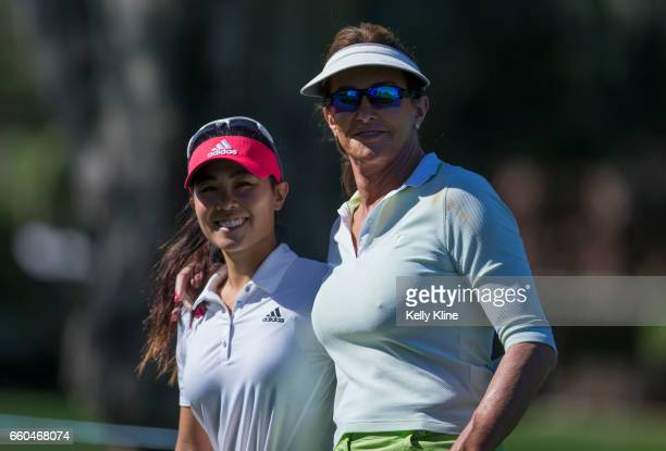 LPGA player Danielle Kang with Caitlyn Jenner during the ANA Inspiration ProAm at Mission Hills Country Club on March 29 2017 in Rancho Mirage...