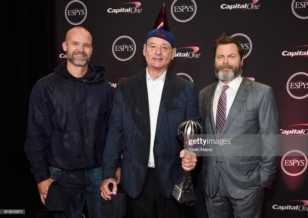 MLB player David Ross, actors Bill Murray and Nick Offerman pose with the Best Moment award on behalf of the 2016 World Series champion Chicago Cubs at The 2017 ESPYS at Microsoft Theater on July 12, 2017 in Los Angeles, California.