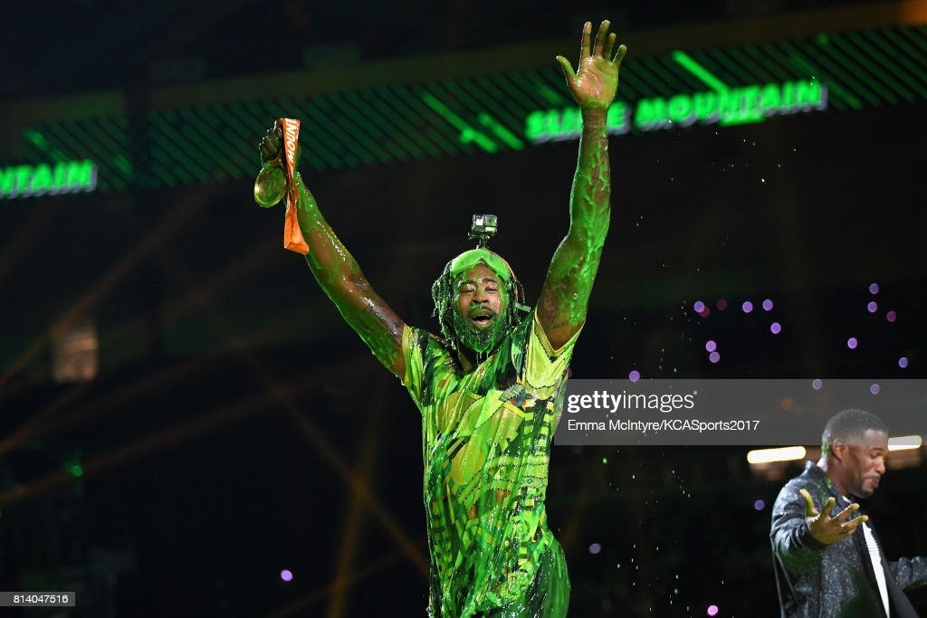 NBA player DeAndre Jordan reacts after getting slimed during Nickelodeon Kids' Choice Sports Awards 2017 at Pauley Pavilion on July 13, 2017 in Los Angeles, California.