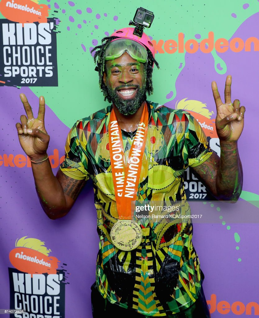 NBA player DeAndre Jordan, winner of the Slime Mountain competition, attends Nickelodeon Kids' Choice Sports Awards 2017 at Pauley Pavilion on July 13, 2017 in Los Angeles, California.