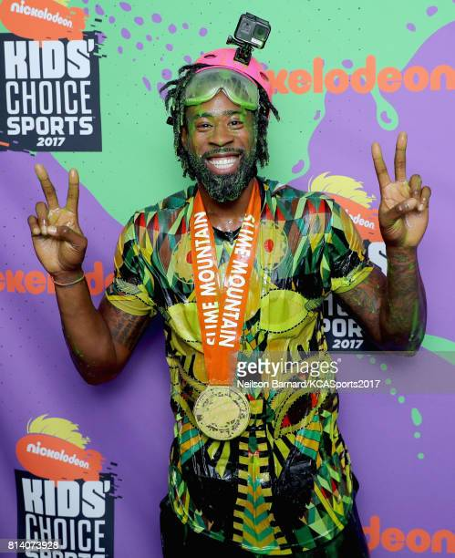 NBA player DeAndre Jordan winner of the Slime Mountain competition attends Nickelodeon Kids' Choice Sports Awards 2017 at Pauley Pavilion on July 13...