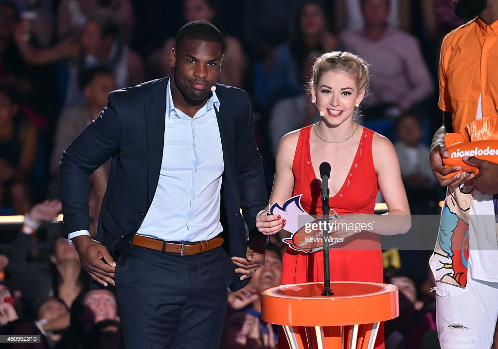 NFL player DeMarco Murray and US Olympic figure skater Gracie Gold speak onstage at the Nickelodeon Kids' Choice Sports Awards 2015 at UCLA's Pauley...